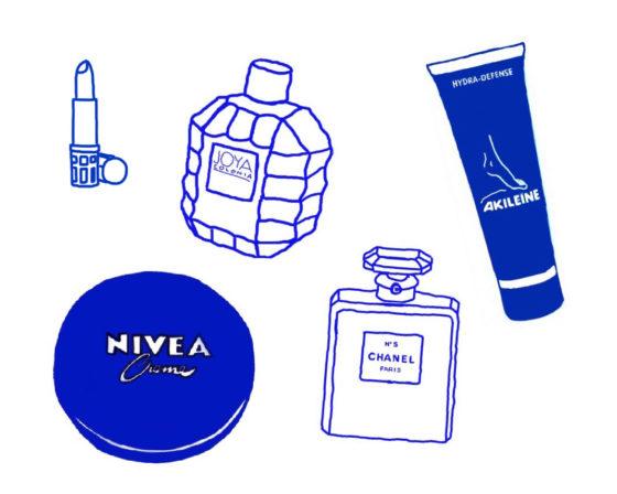 Tegning av klassiske hudprodukter og parfyme