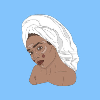 Illustrasjon av kvinne med håndkle på hodet