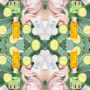 Speilvendt kollasj med grønne skjønnhetsprodukter